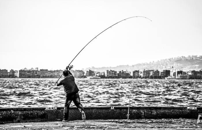pesca con caña en el mar